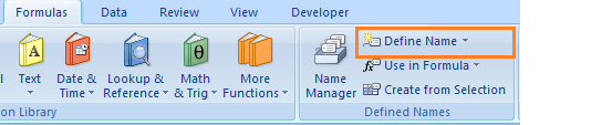 Excel Name Range New Name box