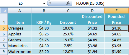Excel FLOOR function example