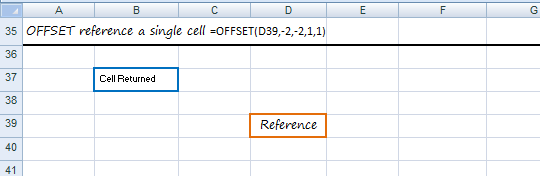 offset reference single cell - rows