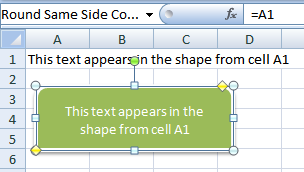 link a cell to an excel shape
