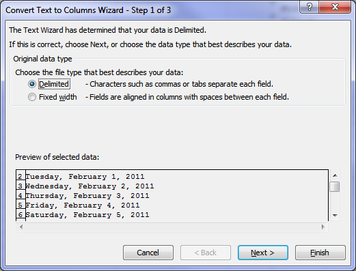 how to get a txt file to recognise columns