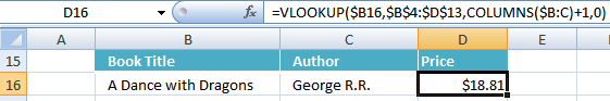 VLOOKUP function and COLUMNS function