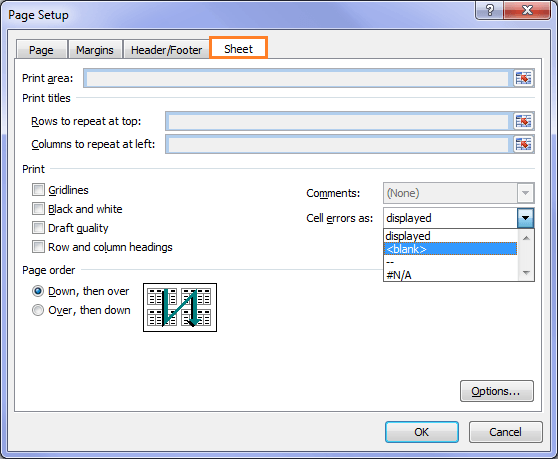 Cell Errors Print Options