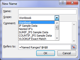 Excel Name Range New Name Dialog Box