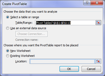 Create Pivot Table dialog box