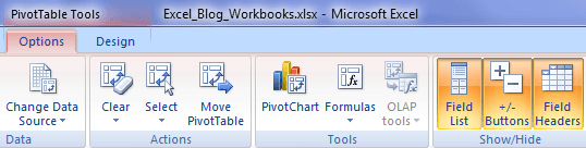 Pivot Table Design and Options tabs