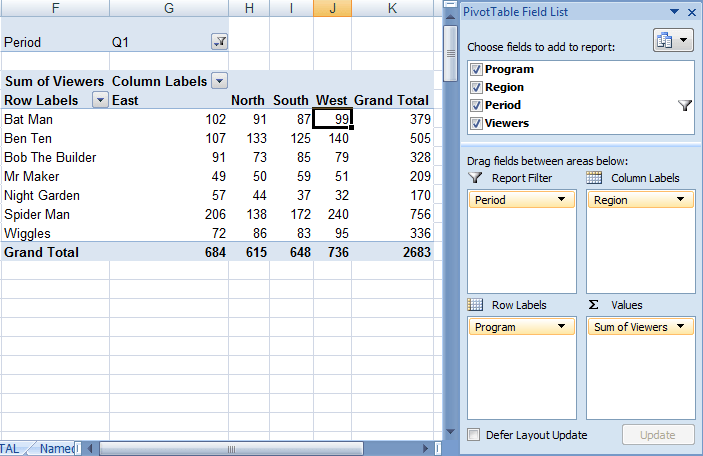 Excel Basic Pivot Table