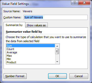 Excel Pivot Table Value Field Settings