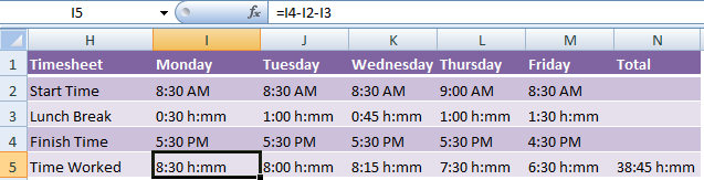 time calculations in excel timesheets